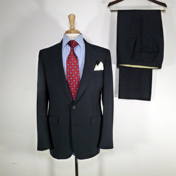 Vintage Mens suit, vintage clothing 80's by Cricketeer for Julian Redmans Two Piece Two Button Navy Blue Pinstripe  40