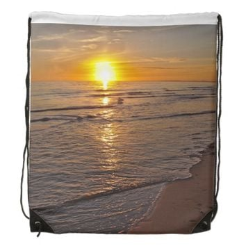 BackPack: Sunset by the Beach Drawstring Backpack