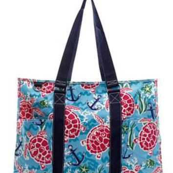 Utility Tote Multi-Pocket - Turtle Print