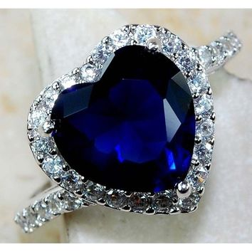 Heart Imitation Blue Sapphire 925 Sterling Silver fashion jewelry wedding rings size 6-10