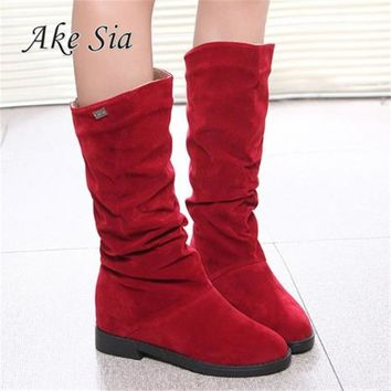 Autumn Winter Women Boots Matte Flock Boots For Female Ladies Height Increased Low Heel Shoes Woman Mid Calf High Boots F263