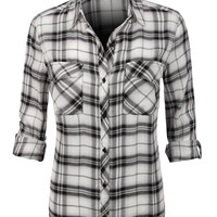Womens Lightweight Plaid Button Down Shirt with Roll Up Sleeves