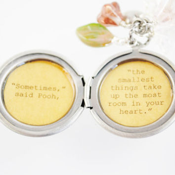 Women's Locket - Friendship Jewelry - Winnie the Pooh Quote - Sometimes the smallest things take up the most room in your heart