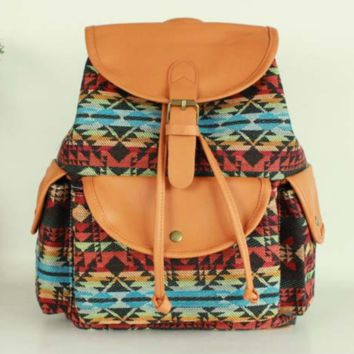 Tribal Aztec Travel Bag Canvas Lightweight Backpack
