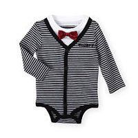 Disney Baby Boys Black Striped Mickey Mouse Long Sleeve Faux Cardigan Bodysuit with Bow Motif