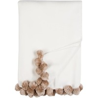 Luxxe Pom Pom Throw in Ivory and Nude