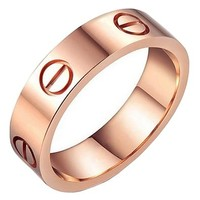 OMFEE Stainless Steel Designer Screw Head Love Wedding Ring Rose Gold Finish,Sizes 5 - 10