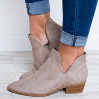 Mallory Side Slit Bootie - Taupe