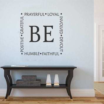 Be Faithful Positive Wall Decal | Religious Quote | Vinyl Lettering