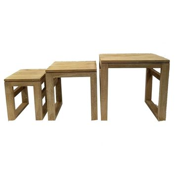 Mango Wood Table With U Shaped Legs, Set Of 3, Brown