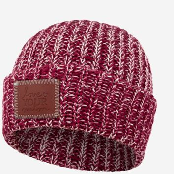 Love Your Melon Burgundy And Natural Speckled Cuffed Beanie