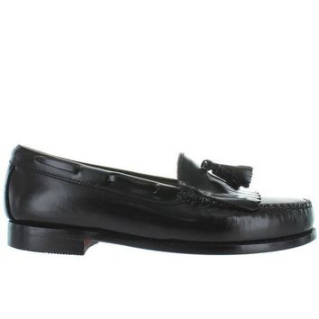 ONETOW Bass Weejuns Layton - Black Leather Tassel-Kilty Moc Loafer