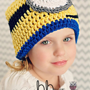 Minions Crochet Beanie - 1 or 2 eye - all sizes - made to order
