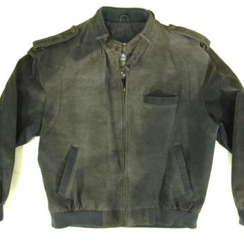 Vintage Gray Leather Racer Jacket - Suede Nubuck Cafe Bomber Coat Grey - Men's Size Large Lrg L