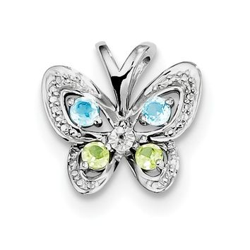 Sterling Silver Blue Topaz Peridot And Diamond Butterfly Pendant