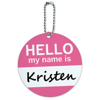 Kristen Hello My Name Is Round ID Card Luggage Tag