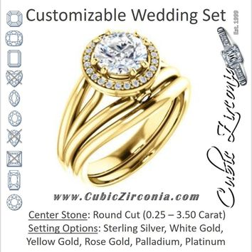 CZ Wedding Set, featuring The Wanda Lea engagement ring (Customizable Round Cut Halo-style with Ultrawide Tri-split Band & Peekaboo Accents)