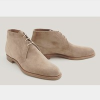 Handmade Mens Beige suede chukka boots, Men Beige laceup suede leather boot