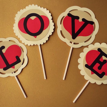LOVE Paper Cupcake Toppers - Set of 4 - Perfect for weddings, parties, birthdays, bridal showers, baby showers