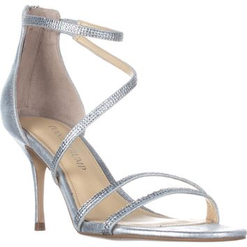 Ivanka Trump Genese Strappy Evening Sandals, Silver, 5 US