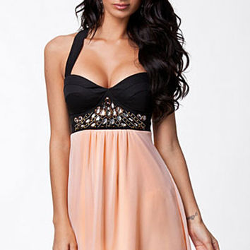 Black Padded Halter Top Backless Skater Dress with Pink Flouncy Shirt