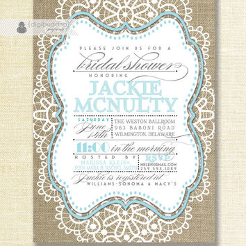 Lace Burlap Bridal Shower Invitation Mason Jar Blue Robins Egg Shabby Chic Rustic Wedding Invite Pastel Printable Digital or Printed- Jackie
