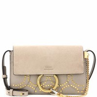 Faye Small embellished suede and leather shoulder bag