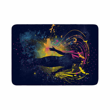 "Frederic Levy-Hadida ""The Birds Master"" Blue Multicolor Memory Foam Bath Mat"