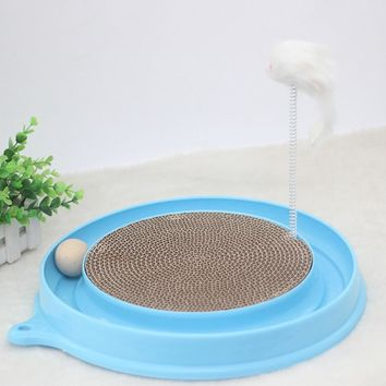 Round Plastic Cat Scratch Board Toy With Ball Mouse Funny Toy For Dogs Cats Kittens Puppys Chihuahua Pet Product Supplies