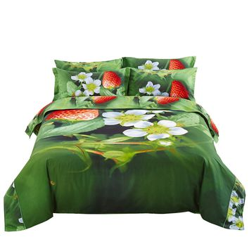 Nature Duvet Cover Set, Queen Bedding, Dolce Mela - Strawberry DM512