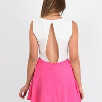 Pink and White Back Cut out Skater Dress