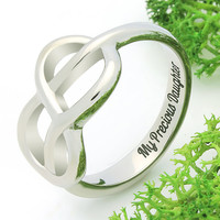 """Infinity Ring - Daughter Silver Ring Engraved on Inside with """"My Precious Daughter"""", Ring Sizes 6 to 9"""