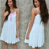Embroidery Loose Strap Dress