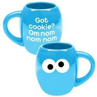 Vandor 32262 Sesame Street Cookie Monster Oval Ceramic Mug, Blue, 18-Ounce