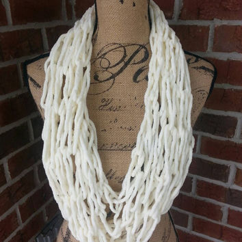 Bulky Arm knitted infinity scarf, cream scarf, neutral scarf, knit scarf, cowl, chunky infinity cowl, Bulky arm knit scarf, fleece scarf