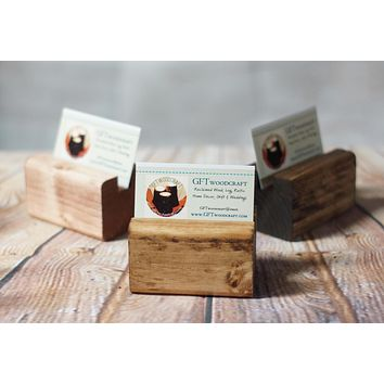 Business Card Holder, Reclaimed Wood Business Card Stand