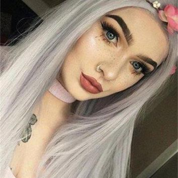 Pastel Silver Blue Lilac Long Synthetic Lace Front Wig