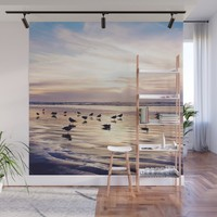 dusk on the beach Wall Mural by sylviacookphotography