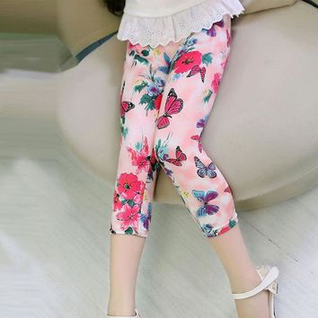 Pink Butterfly Floral Leggings Calf Length