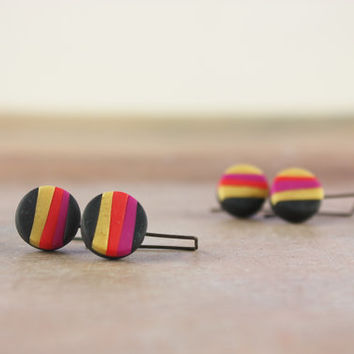 Funky multicolor striped polymer clay earrings, gold, black, pink, red