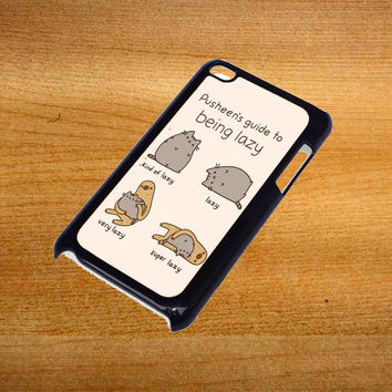 Pusheen cat guide to being lazy For iPod Touch 4 Case *76*