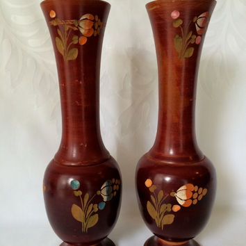 Wood Turned Folk Art Vases, Vintage stamped and painted vases, Wood Turned cherry stained vases