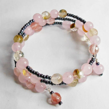 Pink Jade Faceted Watermelon Tourmaline Amethyst Gemstone Beads Handmade Memory Wire Bracelet