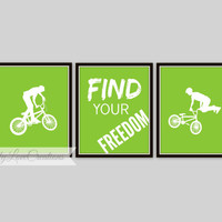 BMX Prints - Bike Rider Wall Art, 3 Piece Set, BMX Typography, Find Your Freedom, Teen Room, Nursery Decor, Children's Room, Playroom Decor