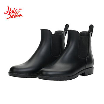 Hellozebra Women Rain Boots Waterproof Fashion Ankle Rubber Elastic Band Solid Color Raining day Shoes Low Heel Autumn New