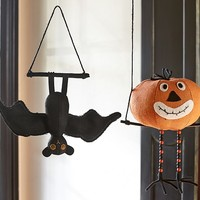 Bat & Pumpkin Hanging Burlap Decor | Pottery Barn Kids
