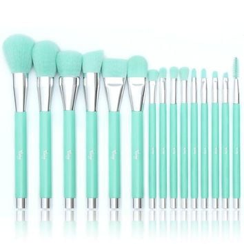 DCCKV2S Qivange Makeup Brush Set, Synthetic Powder Eyeshadow Blending Brushes with Gift Box(Teal, 15 PCS)