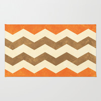 Orange, Brown and Cream Chevron Area & Throw Rug by Kat Mun | Society6