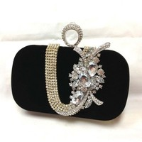 Wedding clutch, Bridesmaid clutch, Black clutch, evening bag, Bridesmaid bag, crystal clutch, Velvet clutch
