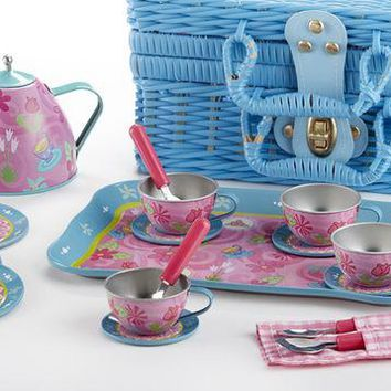 Children 18pc Tin Tea Set for 4 Girls - Tea Party - FREE TEA INCLUDED!